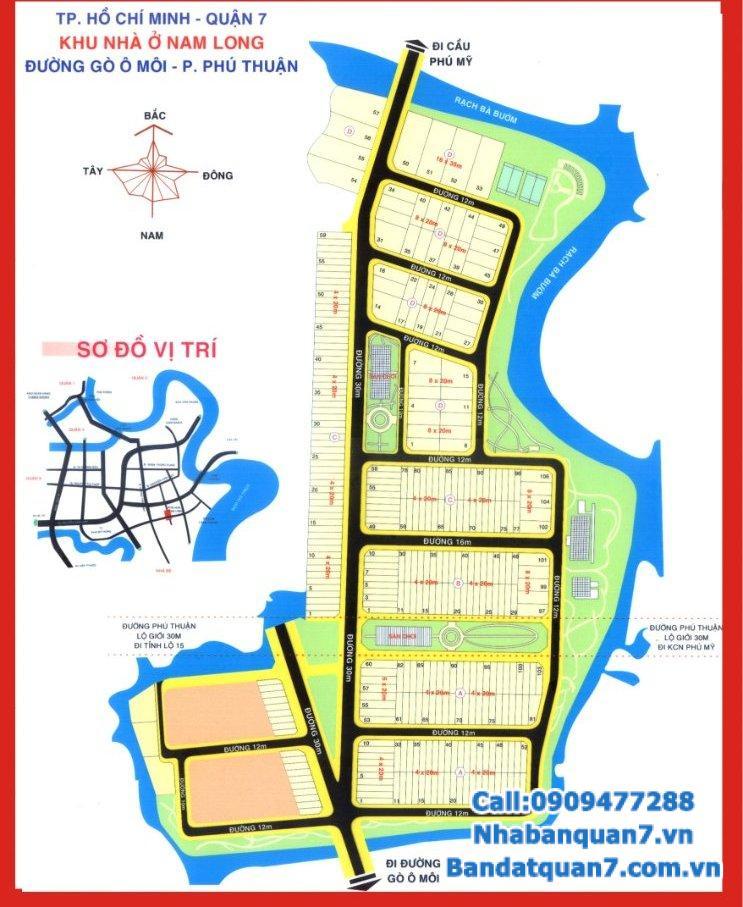 Bán đất Nam Long phường Phú Thuận, 8x20m, giá 6.8 tỷ, LH 0909477288