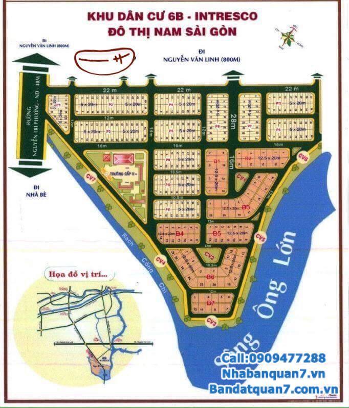 Bán đất 6B Intresco 5x21m, giá 57 triệu/m2, LH 0909477288