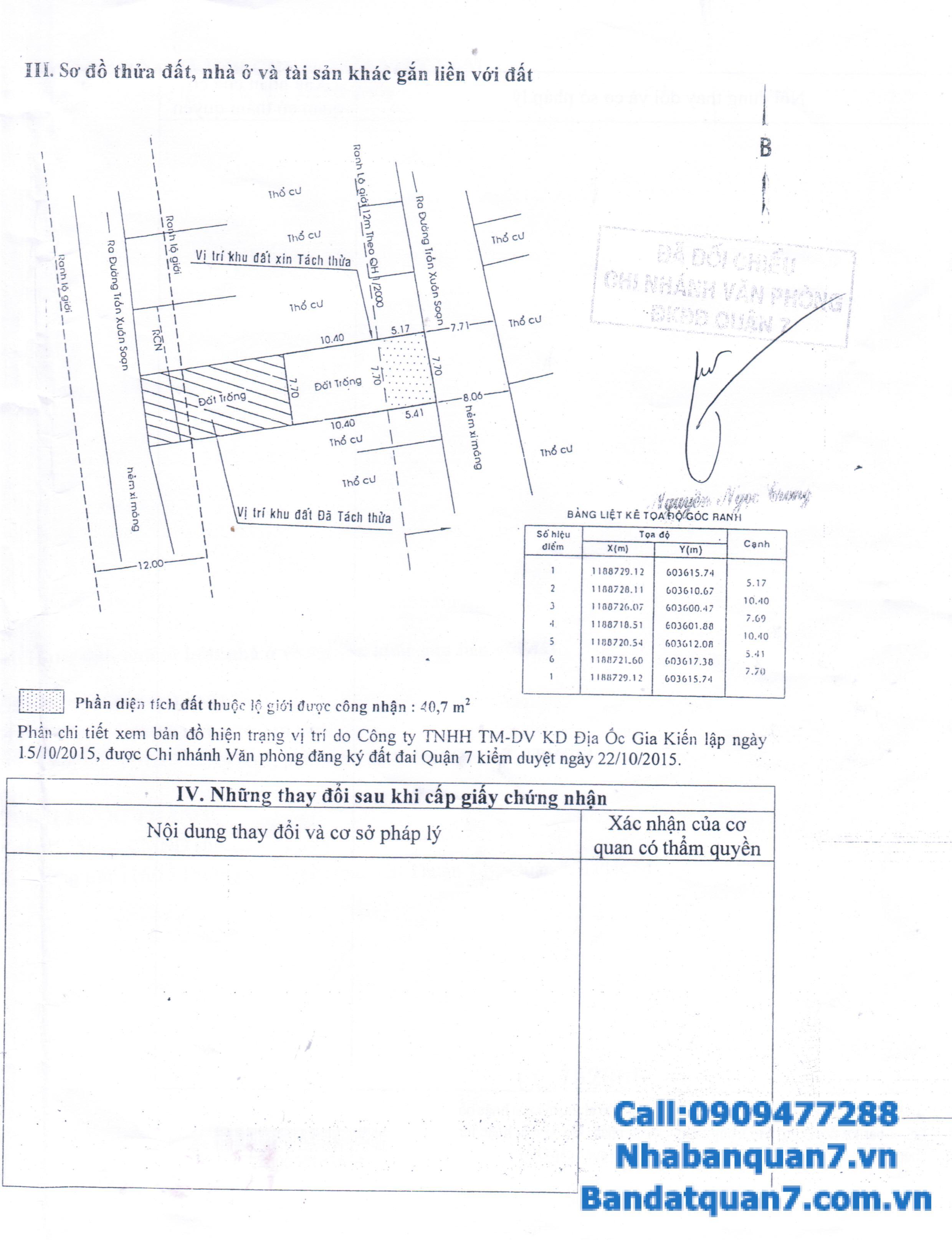 Bán lô đất Kiều Đàm, Phường Tân Hưng, Quận 7, HCM DT: 7.7x15.5 m H.Đông, giá 5.2 tỷ LH 0909477288