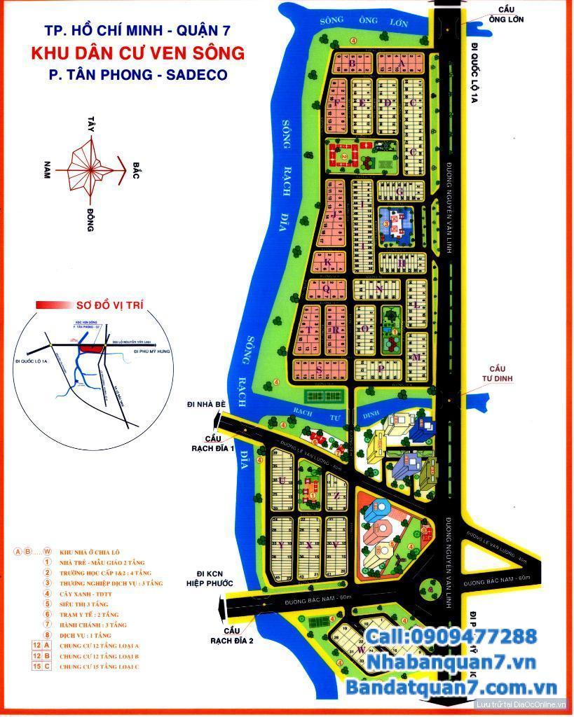 Bán đất Sadeco ven sông quận 7, dt 5x18m, giá 51 triệu/m2,   LH 0909477288