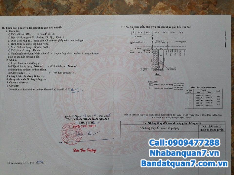 Bán nhà mặt tiền đường số 21 Tân Quy, diện tích 4.8x19m, giá 6.3 tỷ, LH 0909477288