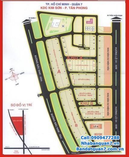 Bán đất khu Kim Sơn quận 7, diện tích 5x20m, giá 58 triệu/m2, LH 0909477288