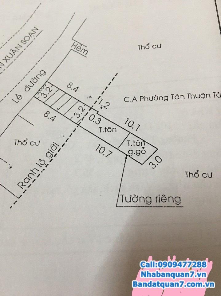 Bán nhà mặt tiền đường Trần Xuân Soạn, 3x19 m2,  3.5 Tỷ Lh 0909477288