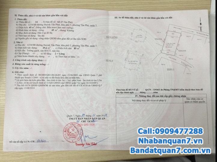 Bán nhà hẻm 1234 Huỳnh Tấn Phát, diện tích 5x9m, LH 0909477288
