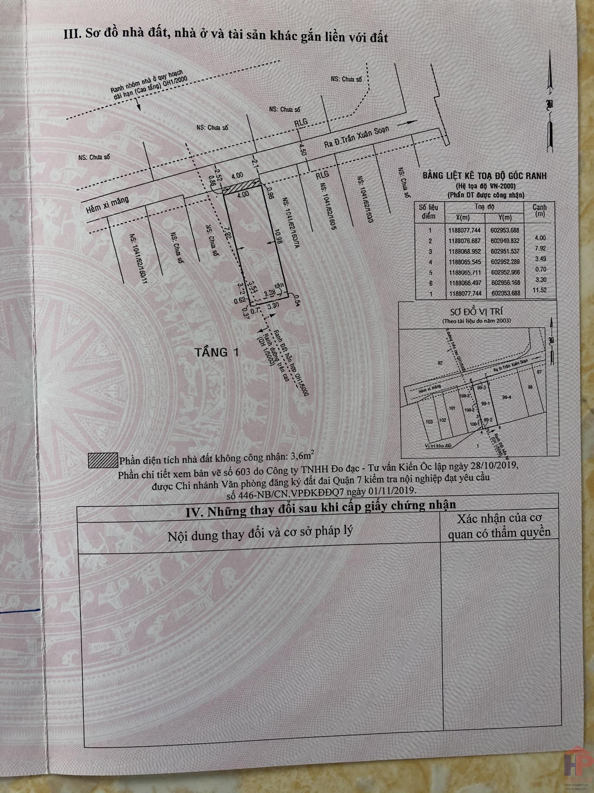 Bán đất hẻm 1041 Trần Xuân Soạn Q7, DT 4x12m, giá 3.8 tỷ