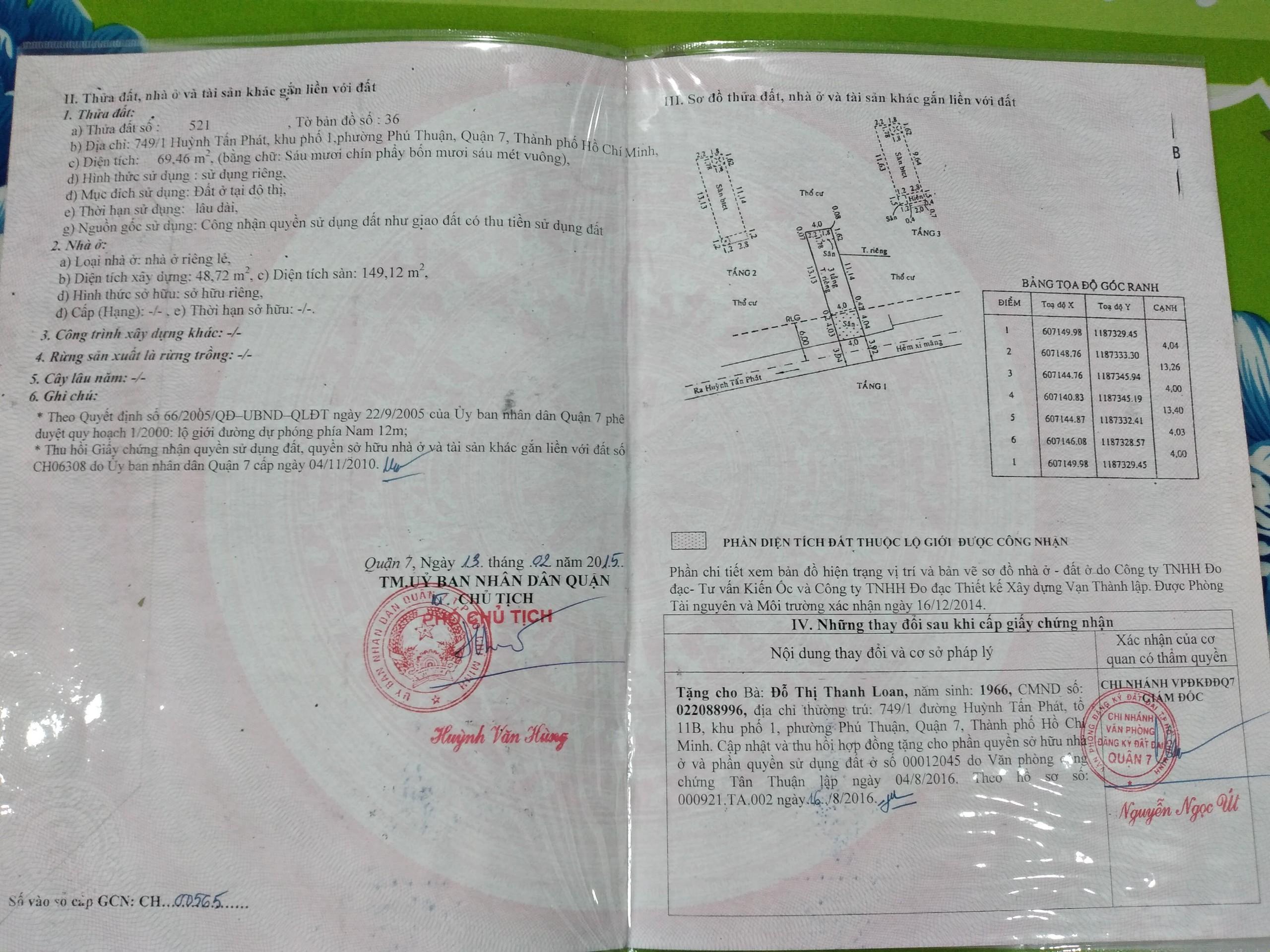 Bán Nhà 2 Lầu Hẻm 749 Huỳnh Tấn Phát Quận 7